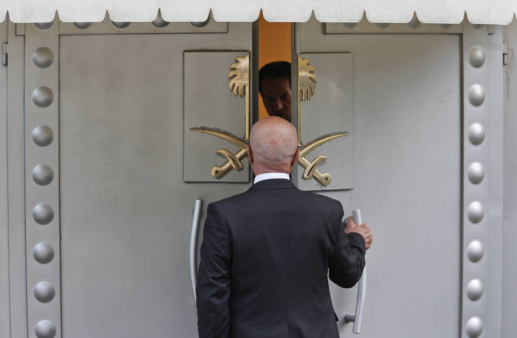 A man enters Saudi Arabia's consulate in Istanbul, Friday, Oct. 19, 2018. A Turkish official said Friday that investigators are looking into the possibility that the remains of missing Saudi journ ...