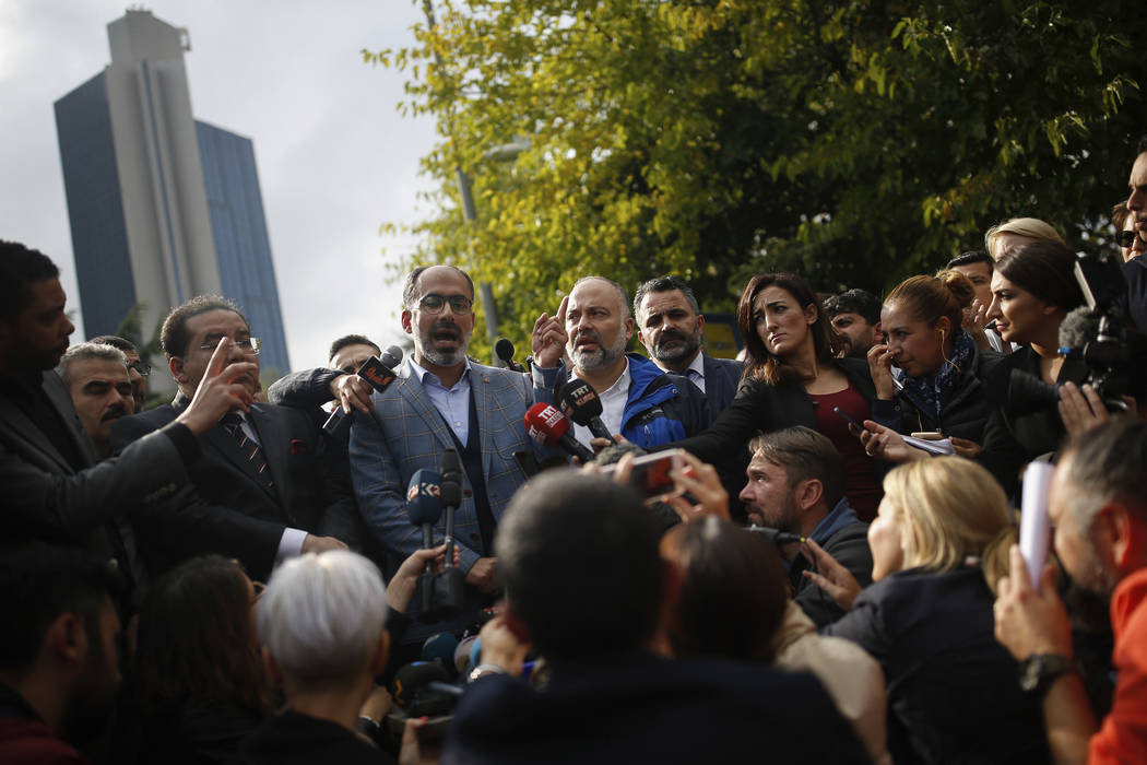 Turan Kislakci, head of the Turkish-Arab media association and friend of Saudi journalist Jamal Khashoggi talks to the media, near Saudi Arabia's consulate in Istanbul, Saturday, Oct. 20, 2018. Tu ...