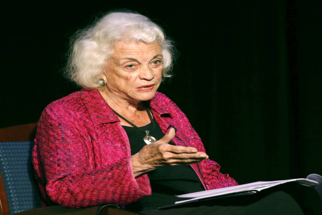 In this Sept. 17, 2014 file photo, retired U.S. Supreme Court Justice Sandra Day O'Connor speaks during a lecture, in Concord, N.H. O'Connor, the first woman on the Supreme Court, says she has the ...