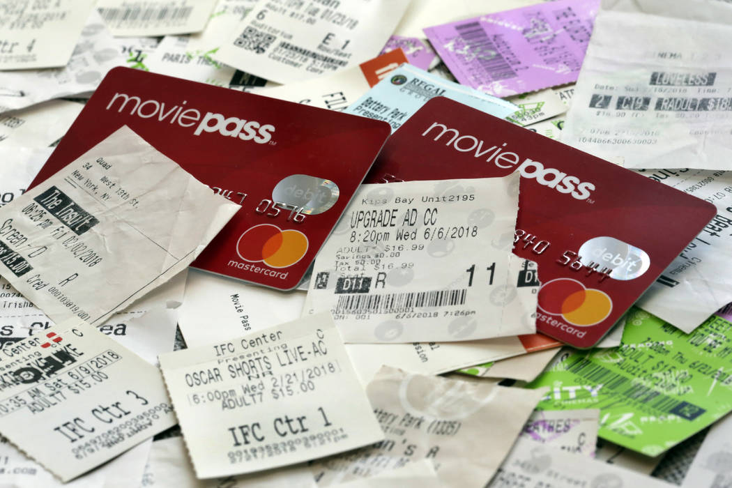 MoviePass debit cards and used movie tickets in New York on Aug. 23, 2018. (AP Photo/Richard Drew, File)