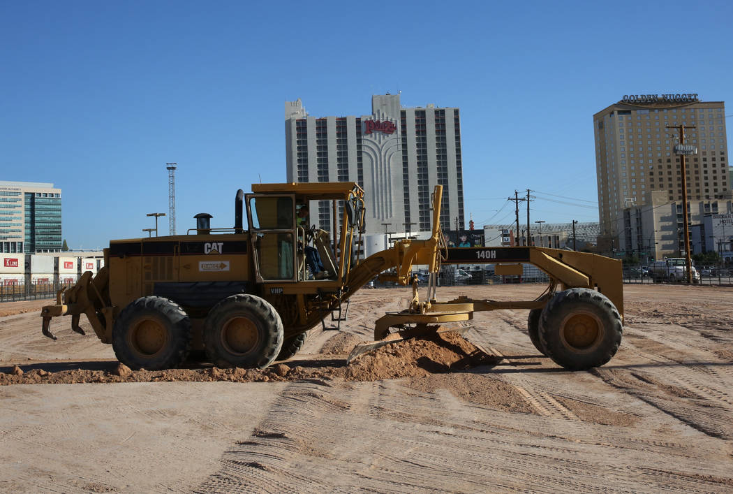 A grader is used to level the construction site where the new equestrian center will be build at Plaza hotel-casino on Friday, Oct. 26, 2018, in Las Vegas. Bizuayehu Tesfaye/Las Vegas Review-Journ ...