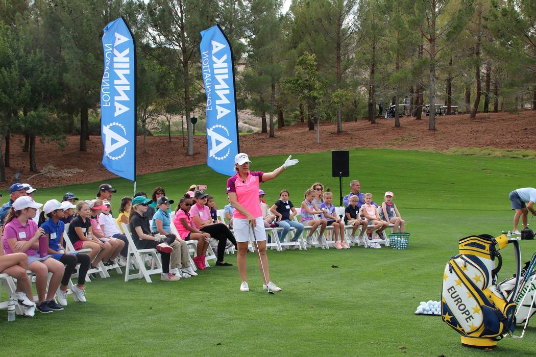 "Annika Sorenstam, a World Golf Hall of Famer with 72 LPGA Tour victories, gave a ""Share My Passion"" clinic to 40 female Southern Nevada Junior Golf Association members on Saturday at Southern High ..."