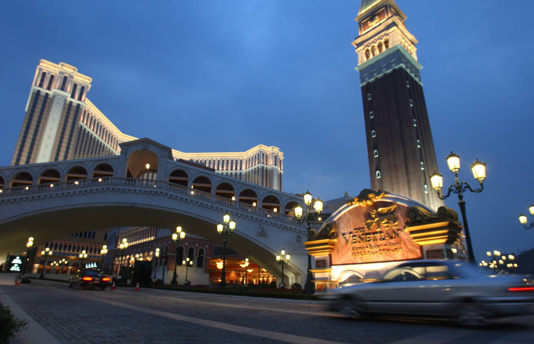 The Venetian-Macau is seen in an undated photo. Las Vegas Sands Corp. and MGM Resorts International appear to have the inside track to build two of Japan's first integrated resorts and casinos a ...