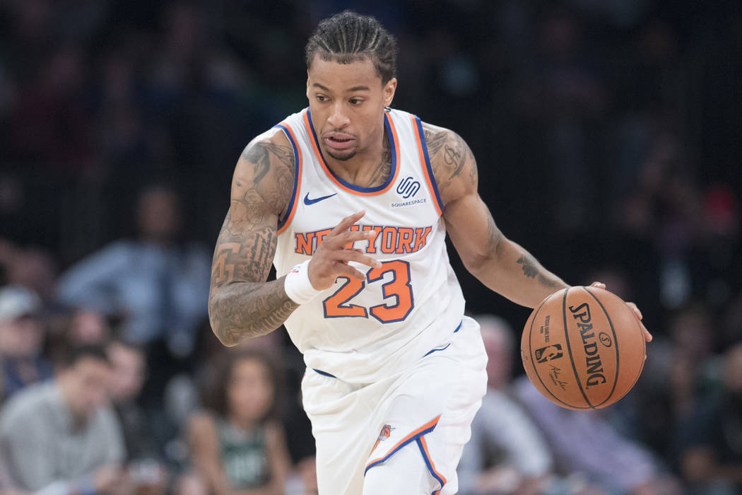 New York Knicks guard Trey Burke handles the ball during the first half of an NBA basketball game against the Boston Celtics, Saturday, Oct. 20, 2018, at Madison Square Garden in New York. (AP Pho ...