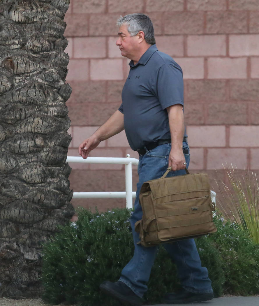 Henderson Township Constable Earl Mitchell leaves the Henderson Justice Court on Wednesday, March 21, 2018. (Bizuayehu Tesfaye/Las Vegas Review-Journal) @bizutesfaye