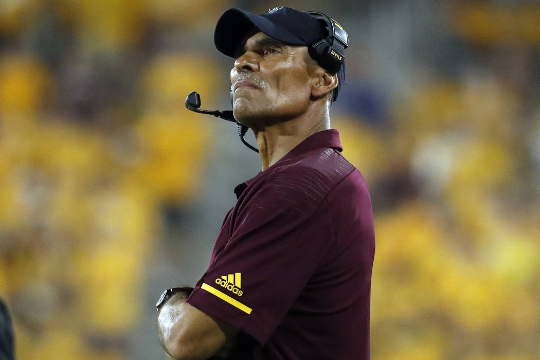 Arizona State coach Herm Edwards watches during the second half of the team's NCAA college football game against Oregon State on Saturday, Sept. 29, 2018, in Tempe, Ariz. (AP Photo/Matt York)