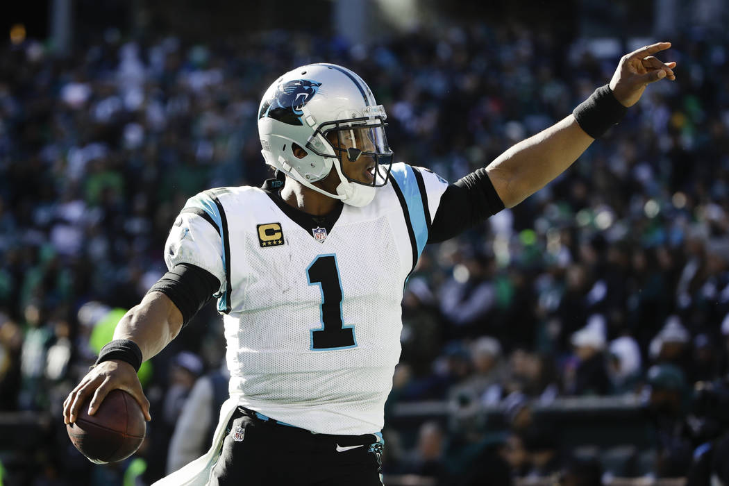 Carolina Panthers quarterback Cam Newton (1) in action during an NFL football game against the Philadelphia Eagles in Philadelphia, Sunday, Oct. 21, 2018. (AP Photo/Matt Rourke)