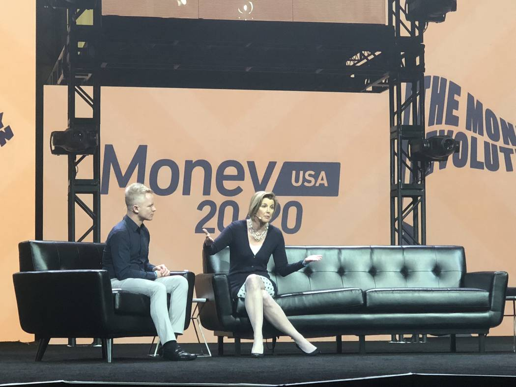 Ellevest Co-founder Sallie Krawcheck speaks Monday Oct. 21, 2018 at Money 20/20 show at The Venetian in Las Vegas. (Todd Prince/Las Vegas Review-Journal)