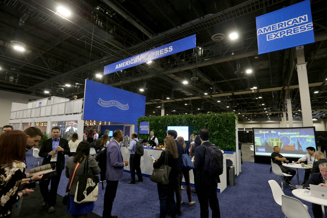 Conventioneers mingle at the American Express lounge at the Money 20/20 show at the Venetian in Las Vegas Tuesday, Oct. 23, 2018. K.M. Cannon Las Vegas Review-Journal @KMCannonPhoto