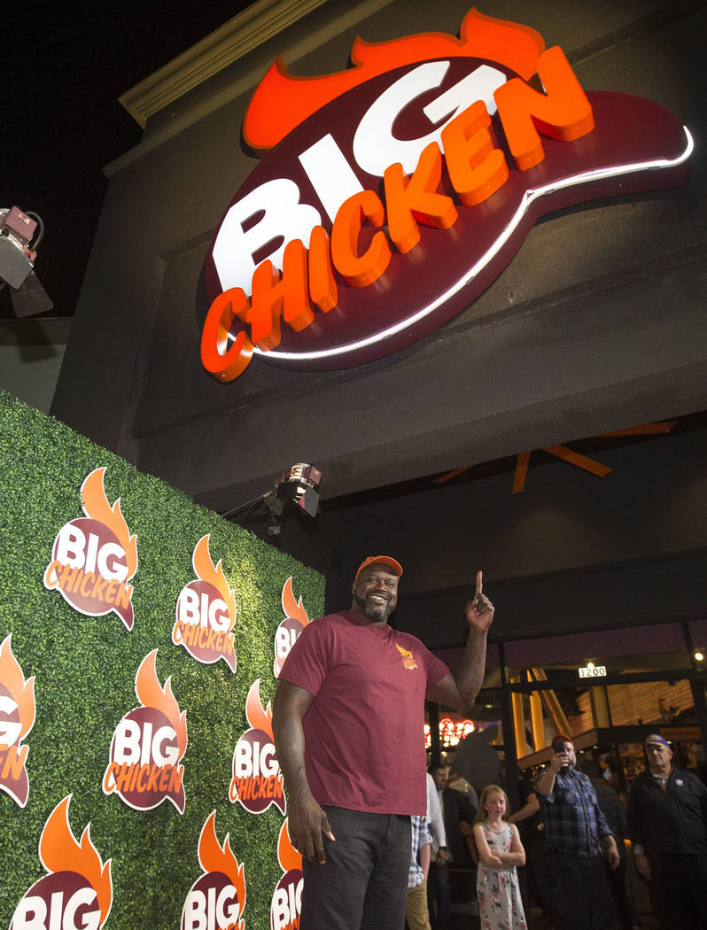 Retired NBA player Shaquille O'Neal smiles during the grand opening celebration of Big Chicken, Shaq's new fast-casual chicken restaurant in Las Vegas on Tuesday, Oct. 23, 2018. Richard Brian ...