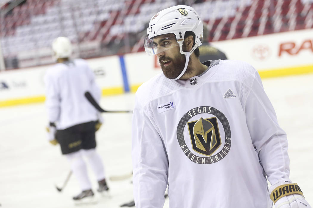 Golden Knights right wing Alex Tuch looks on during practice ahead of Game 4 of the Stanley Cup Final at Capital One Arena in Washington on Monday, June 4, 2018. Chase Stevens Las Vegas Review-Jou ...