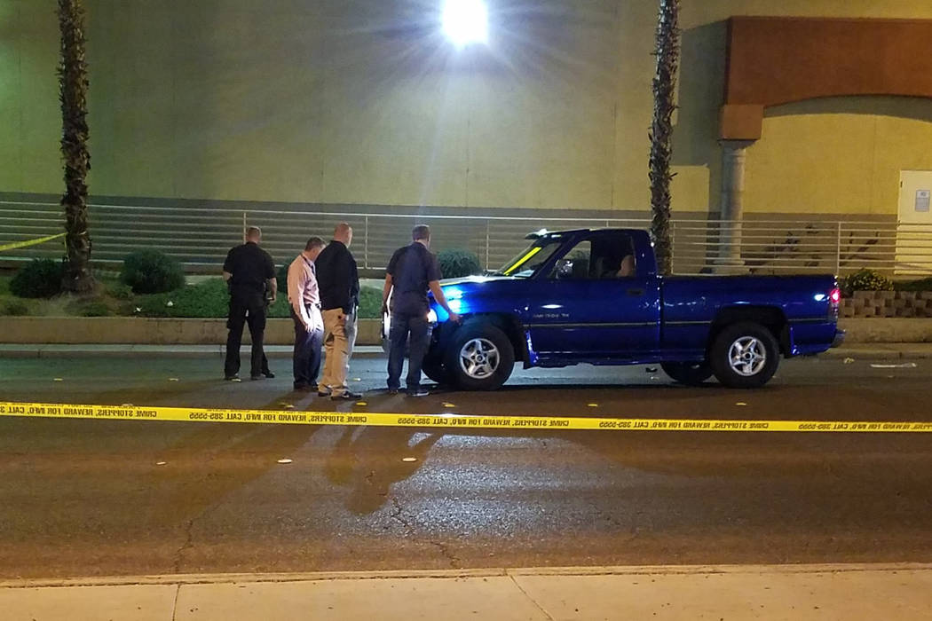 Las Vegas police investigate a crash near South Maryland Parkway and East Katie Avenue on Monday, Oct. 22, 2018. (Mike Shoro/Las Vegas Review-Journal)