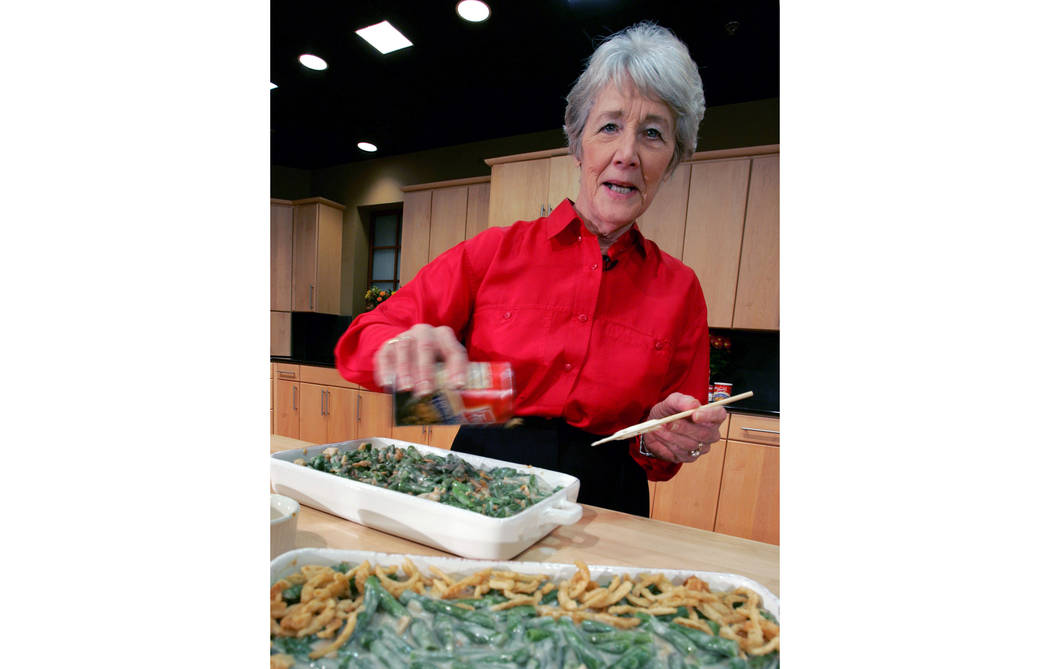In this Nov. 15, 2005 file photo, a green bean casserole sits in the foreground as Dorcas Reilly prepares another at the Campbell Soup Co. corporate kitchen in Camden, New Jersey. (Mel Evans/AP file)