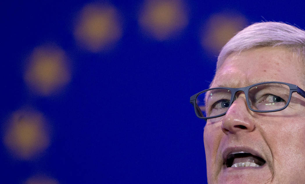 Apple CEO Tim Cook speaks during a data privacy conference at the European Parliament in Brussels, Wednesday, Oct. 24, 2018. (AP Photo/Virginia Mayo)