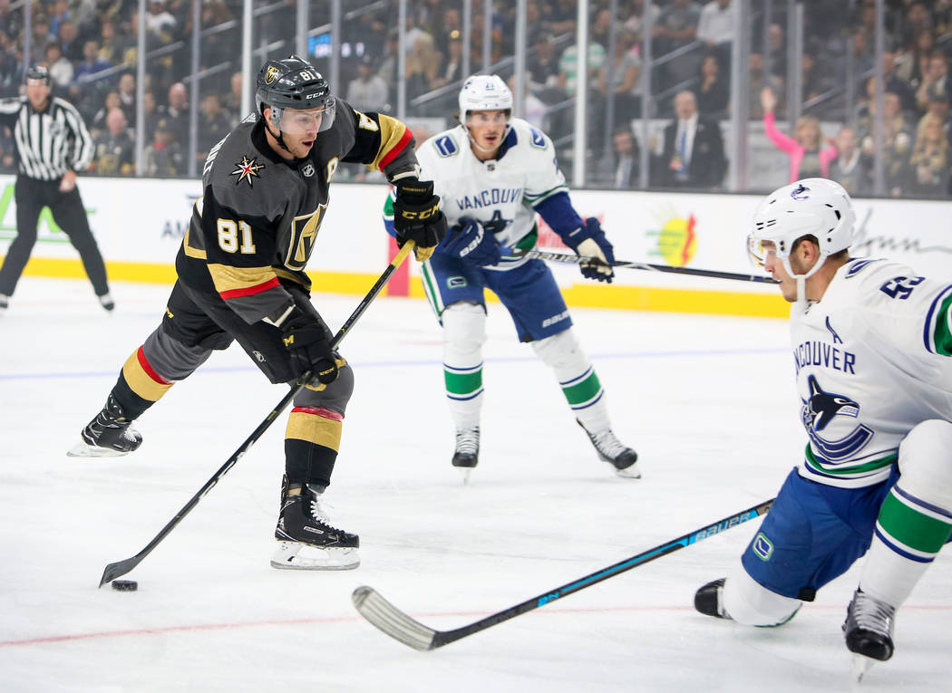 Golden Knights center Jonathan Marchessault (81) moves towards the Vancouver Canucks' goal during the first period of an NHL hockey game at T-Mobile Arena in Las Vegas, Wednesday, Oct. 24, 2018. C ...