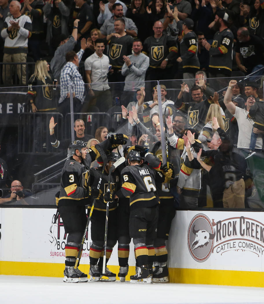 The Vegas Golden Knights celebrate their second goal during the second period of an NHL hockey game at T-Mobile Arena in Las Vegas, Wednesday, Oct. 24, 2018. Caroline Brehman/Las Vegas Review-Journal