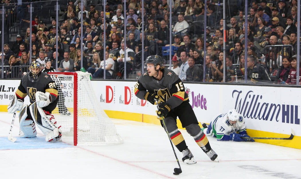 Golden Knights defenseman Jon Merrill (15) in action during the second period of an NHL hockey game at T-Mobile Arena in Las Vegas, Wednesday, Oct. 24, 2018. Caroline Brehman/Las Vegas Review-Journal