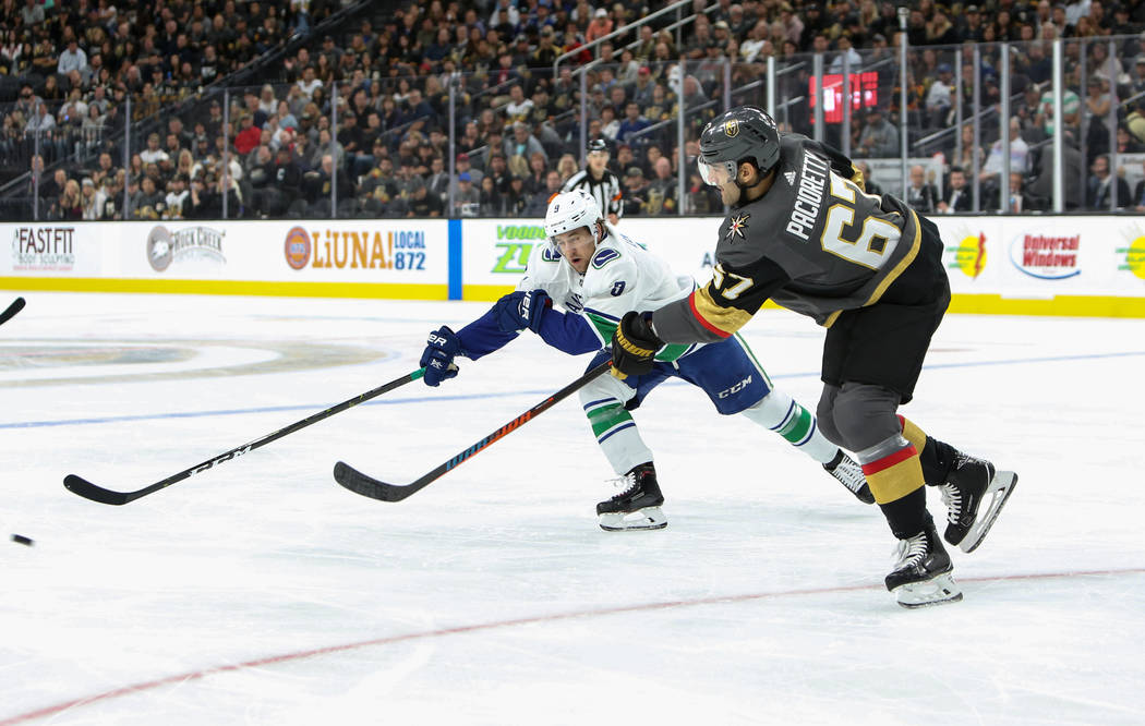 Golden Knights left wing Max Pacioretty (67) passes the puck to a teammate during the second period of an NHL hockey game at T-Mobile Arena in Las Vegas, Wednesday, Oct. 24, 2018. Caroline Brehman ...