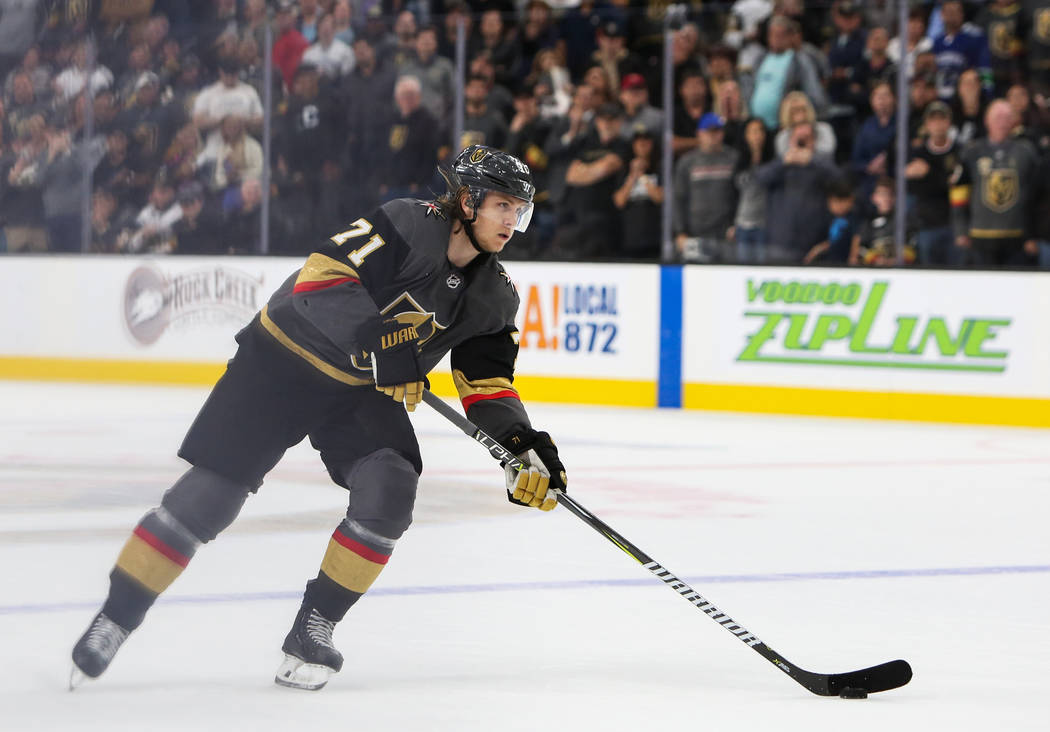 Golden Knights center William Karlsson (71) looks to the Vancouver Canucks' goal during a shootout in overtime of an NHL hockey game at T-Mobile Arena in Las Vegas, Wednesday, Oct. 24, 2018. Carol ...