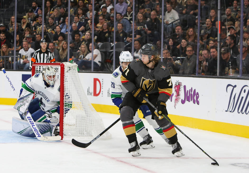Golden Knights center William Karlsson (71) rounds the corner with the puck during the third period of an NHL hockey game at T-Mobile Arena in Las Vegas, Wednesday, Oct. 24, 2018. Caroline Brehman ...