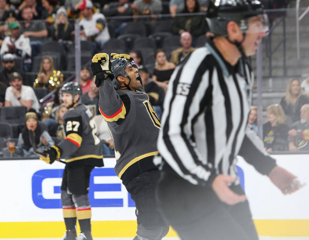 Golden Knights center Pierre-Edouard Bellemare (41) reacts to a missed Golden Knights' shot during the third period of an NHL hockey game at T-Mobile Arena in Las Vegas, Wednesday, Oct. 24, 2018. ...