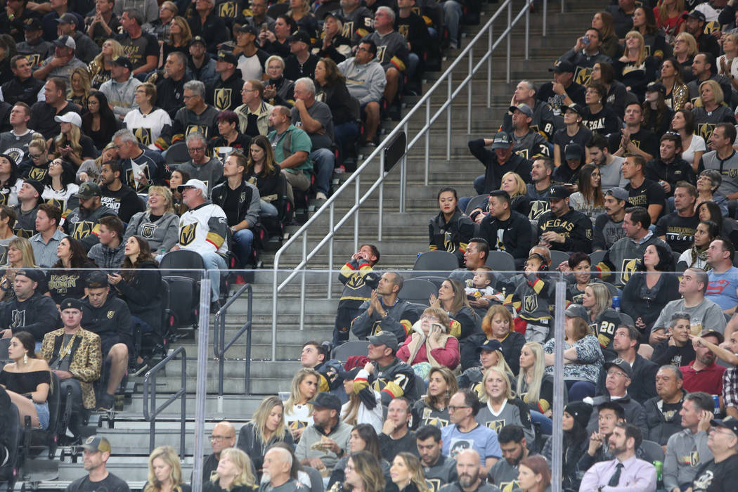 during the first period of an NHL hockey game at T-Mobile Arena in Las Vegas, Wednesday, Oct. 24, 2018. Caroline Brehman/Las Vegas Review-Journal