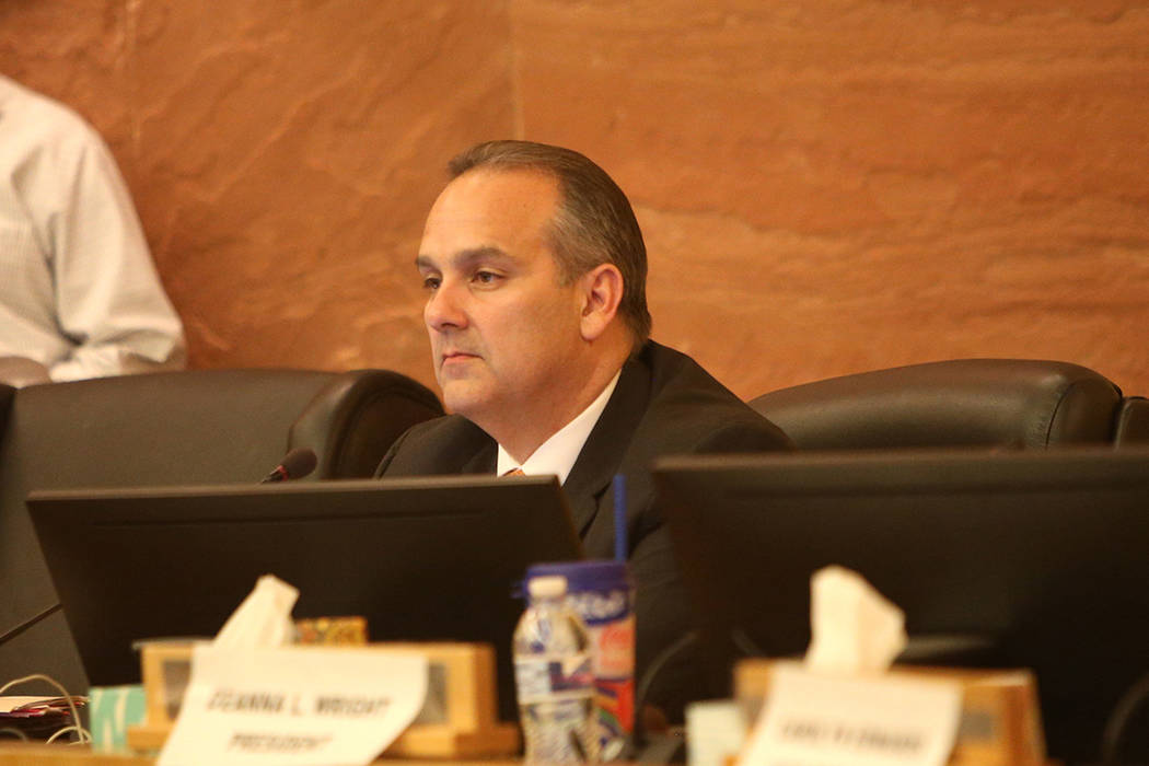 Clark County School Superintendent Jesus Jara listens at a CCSD board meeting at the Clark County Government Center in Las Vegas, Thursday, Aug. 9, 2018. (Rachel Aston Las Vegas Review-Journal @ro ...