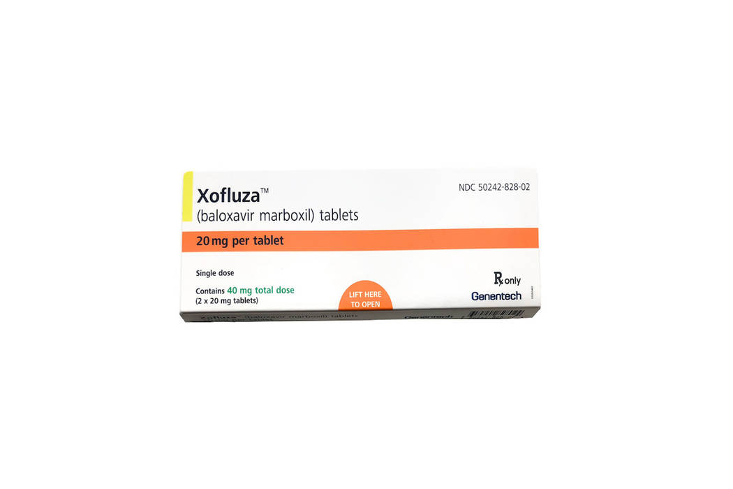 This undated product image provided by Genentech shows a box for Xofluza, a pill for shortening the duration and easing symptoms of the flu. U.S. health regulators have approved the first new flu ...