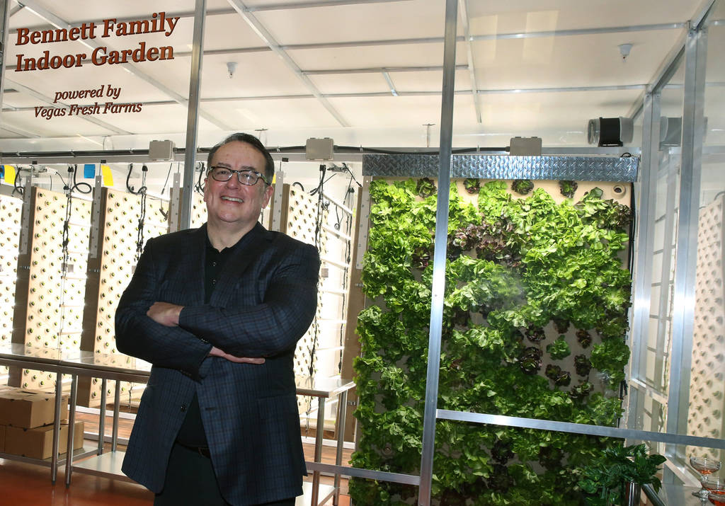 Brian Burton, president and CEO of Three Square Food Bank, poses for a photo at Three Square's new vertical indoor garden on Thursday, Oct. 18 , 2018, in Las Vegas. Bizuayehu Tesfaye/Las Vegas Rev ...