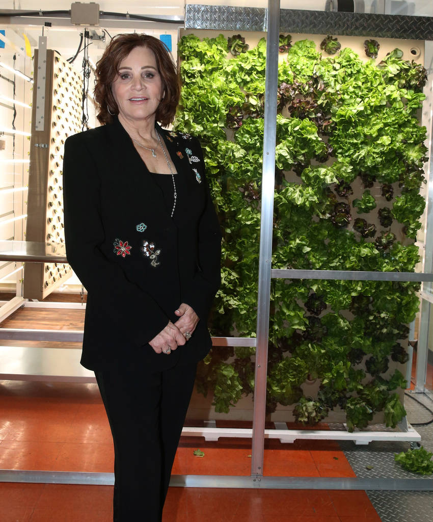 Diana Bennett, philanthropist and board president of Three Square Food Bank, poses for a photo at Three Square's new vertical indoor garden on Thursday, Oct. 18 , 2018, in Las Vegas. Bizuayehu Tes ...