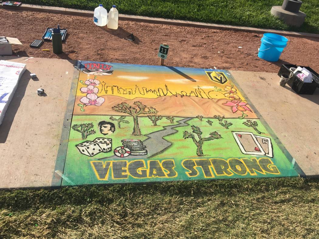 "Chalk artists drew what they thought was the ""Spirit of Las Vegas.""(Skye Canyon)"