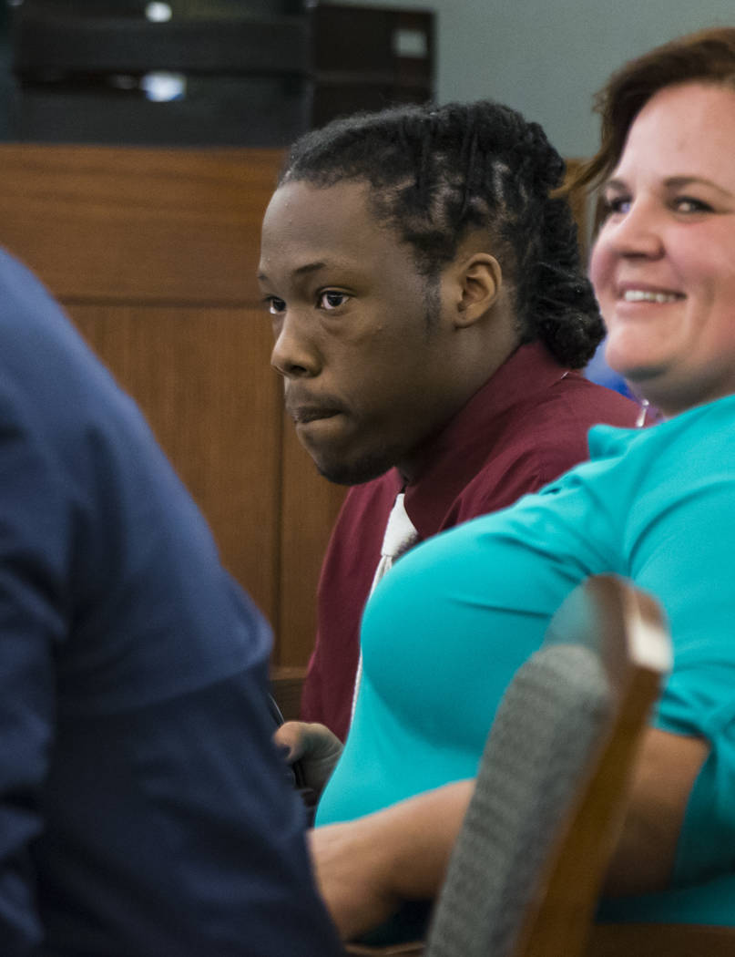 Norman Smith, accused of shooting and killing Tinesha Antovia Adams, who was pregnant, looks on during jury selection for his trial at the Regional Justice Center in Las Vegas on Tuesday, Oct. 23, ...