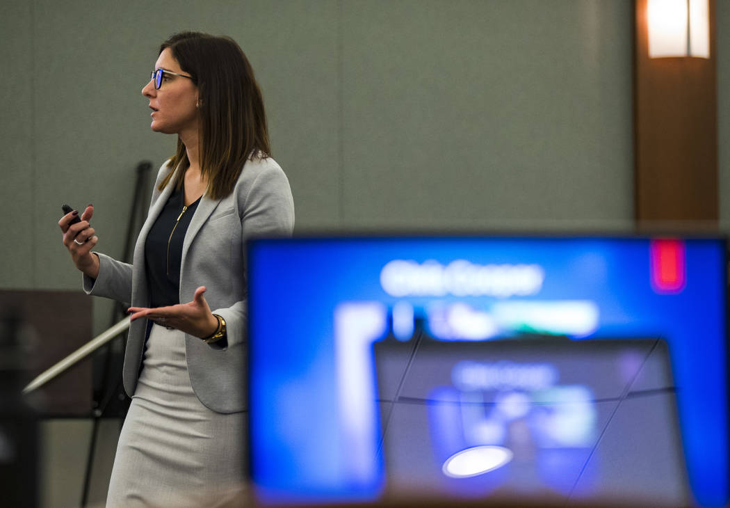 Prosecutor Kelsey Einhorn speaks during opening statements in the trial of Norman Smith, accused of shooting and killing Tinesha Antovia Adams, who was pregnant, at the Regional Justice Center in ...