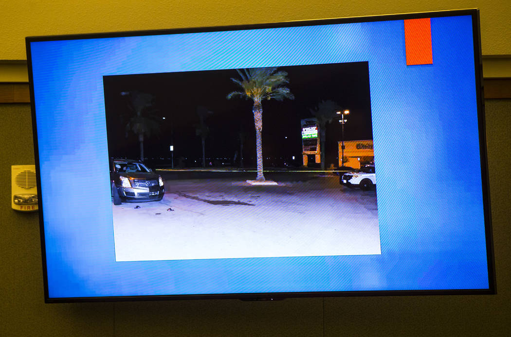 The scene where Tinesha Antovia Adams was shot and killed during the trial of Norman Smith, accused in the killing, at the Regional Justice Center in Las Vegas on Wednesday, Oct. 24, 2018. Chase S ...