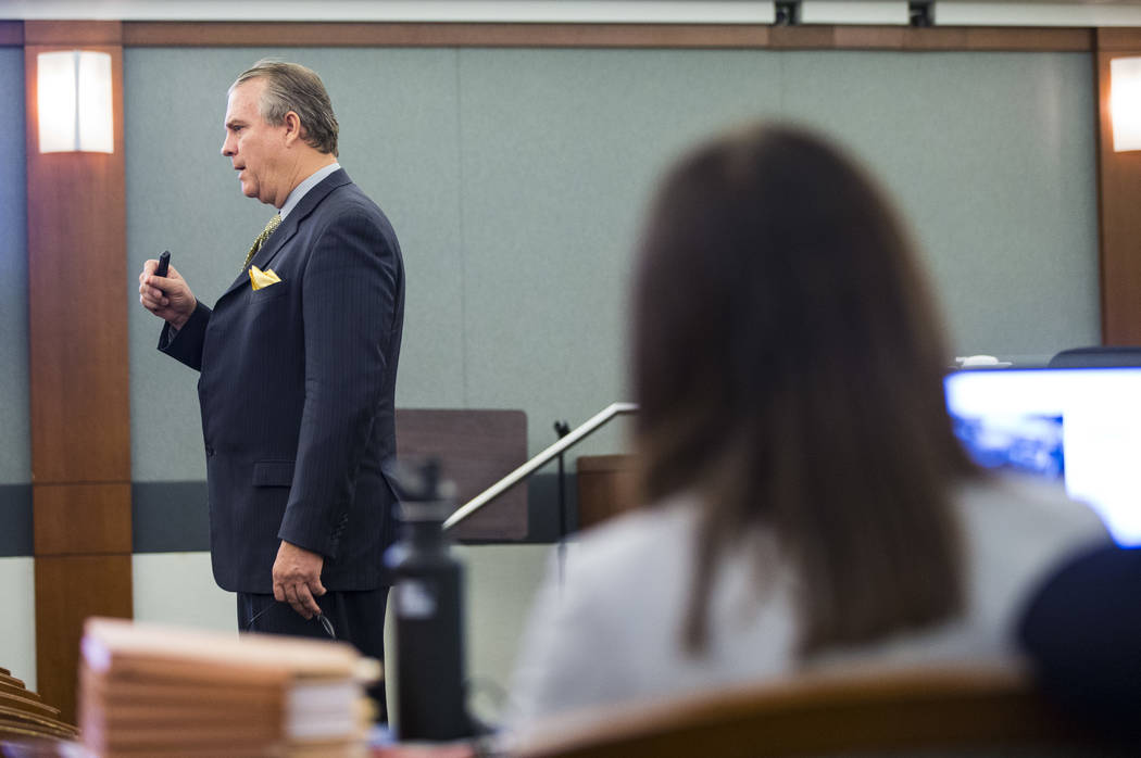 Defense attorney Bret Whipple speaks during opening statements in the trial of Norman Smith, accused of shooting and killing Tinesha Antovia Adams, who was pregnant, at the Regional Justice Center ...