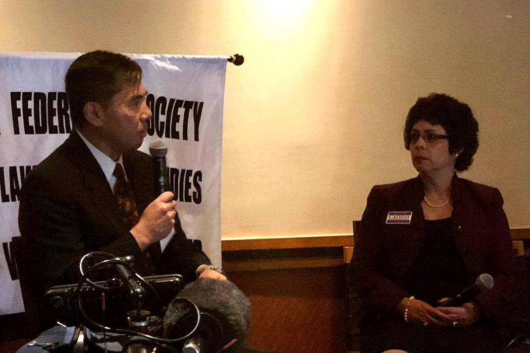Nevada Court of Appeals Judge Jerry Tao and District Court Judge Elissa Cadish, who are vying for a seat on the Nevada Supreme Court, speak at a Federalist Society forum on Friday, Sept. 28, 2018. ...