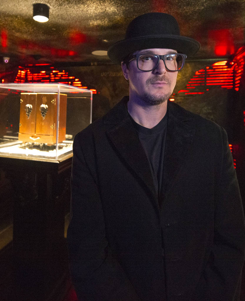 Ghost hunter Zak Bagans poses with his Dybbuk Box, known as the worldÕs most haunted object, at Zak Bagans' The Haunted Museum located at 600 E. Charleston Blvd. in downtown Las Vegas on Mond ...