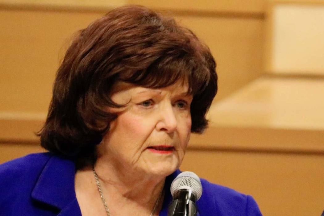 In this March 26, 2018, file photo, City Councilwoman Lois Tarkanian speaks during a news conference in Las Vegas, Monday, March 26, 2018. Madelyn Reese/Las Vegas Review-Journal