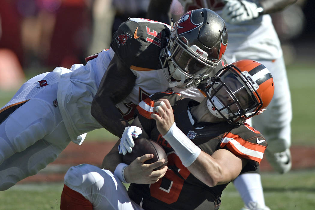 187ee15a5 Tampa Bay Buccaneers defensive back Jordan Whitehead (31) hits Cleveland  Browns quarterback Baker Mayfield