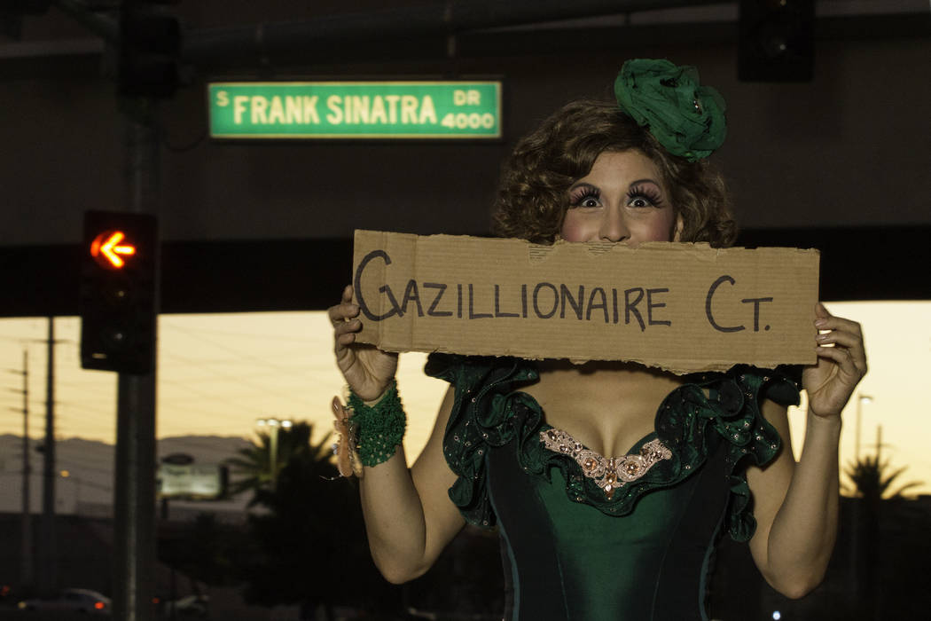 "Wanda Widdles signs up for a new street for The Gazillionaire, her boss in ""Absinthe"" at Caesars Palace. (Absinthe Las Vegas)"