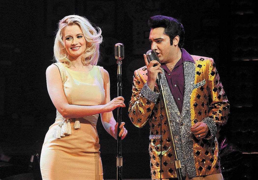 "Holly Madison performs with Justin Shandor of ""The Million Dollar Quartet"" at Harrah's Las Vegas on Wednesday. (Denise Truscello/WireImage)"