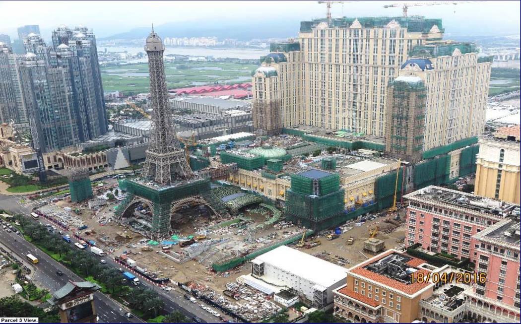 The Parisian Macau is shown under construction on Macau's Cotai Strip April 18, 2016. (Las Vegas Sands Corp.)