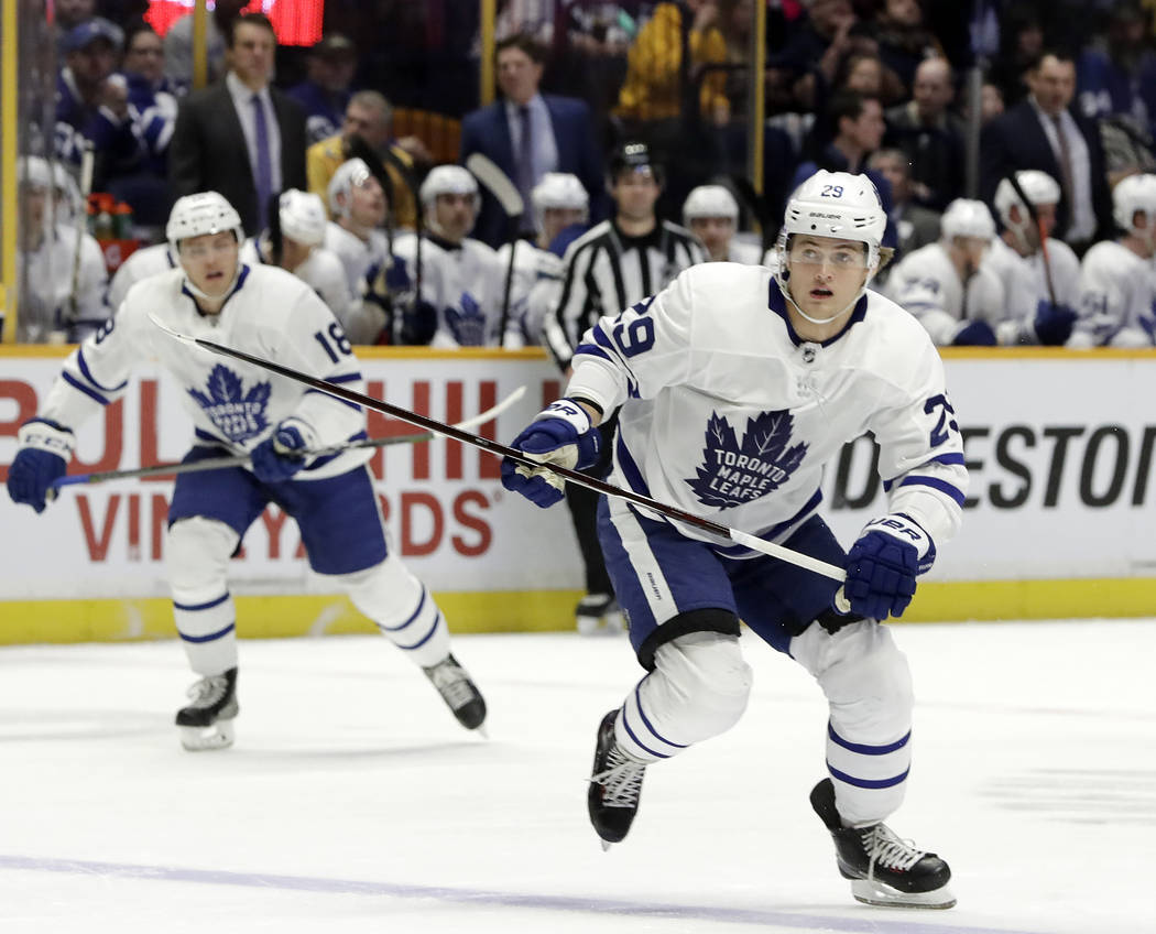 Toronto Maple Leafs center William Nylander (29) plays against the Nashville Predators in the first period of an NHL hockey game Thursday, March 22, 2018, in Nashville, Tenn. (AP Photo/Mark Humphrey)