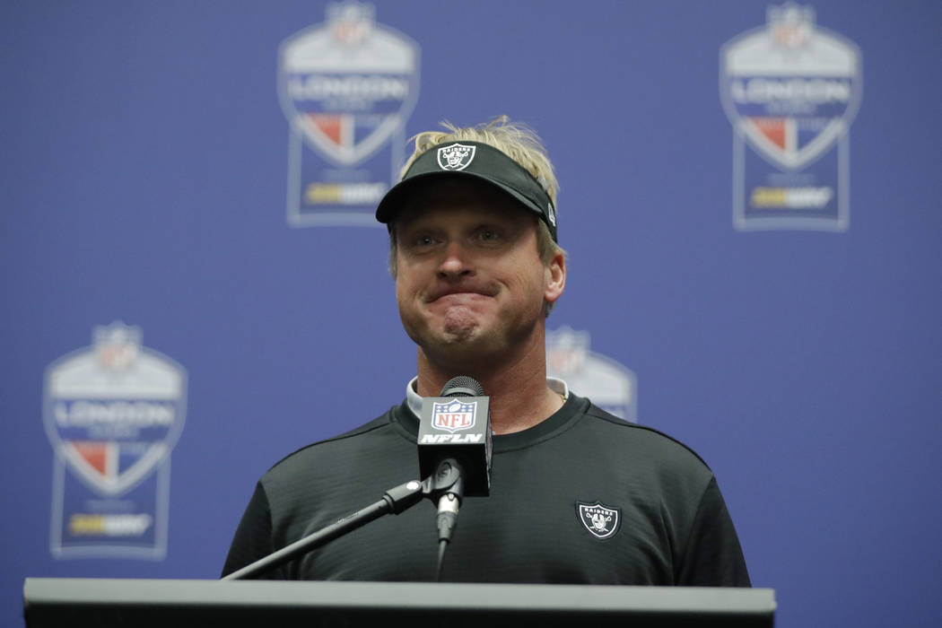 Oakland Raiders head coach Jon Gruden pauses during a press conference after an NFL football game against Seattle Seahawks at Wembley stadium in London, Sunday, Oct. 14, 2018. Seattle Seahawks won ...