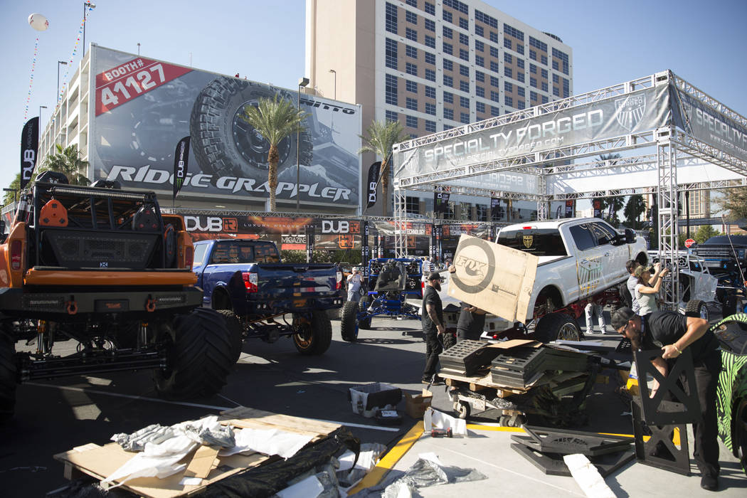 High-suspension trucks on display at the Las Vegas Convention Center Tuesday, Oct. 31, 2017, as part of the four-day Specialty Equipment Market Association (SEMA) show. Todd Prince Las Vegas Revie ...