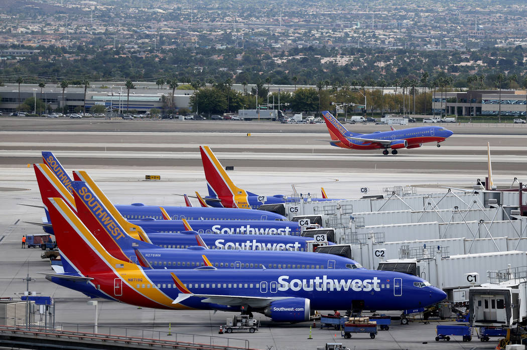 A Southwest Airlines plane takes off from McCarran International Airport in Las Vegas Thursday, Oct. 25, 2019. K.M. Cannon Las Vegas Review-Journal @KMCannonPhoto