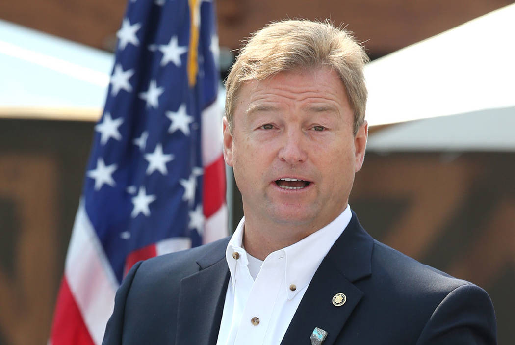 U.S. Sen. Dean Heller speaks at the 22nd annual Lake Tahoe Summit, at Sand Harbor State Park, near Incline Village on Tuesday, Aug. 7, 2018. (Cathleen Allison/Las Vegas Review-Journal)