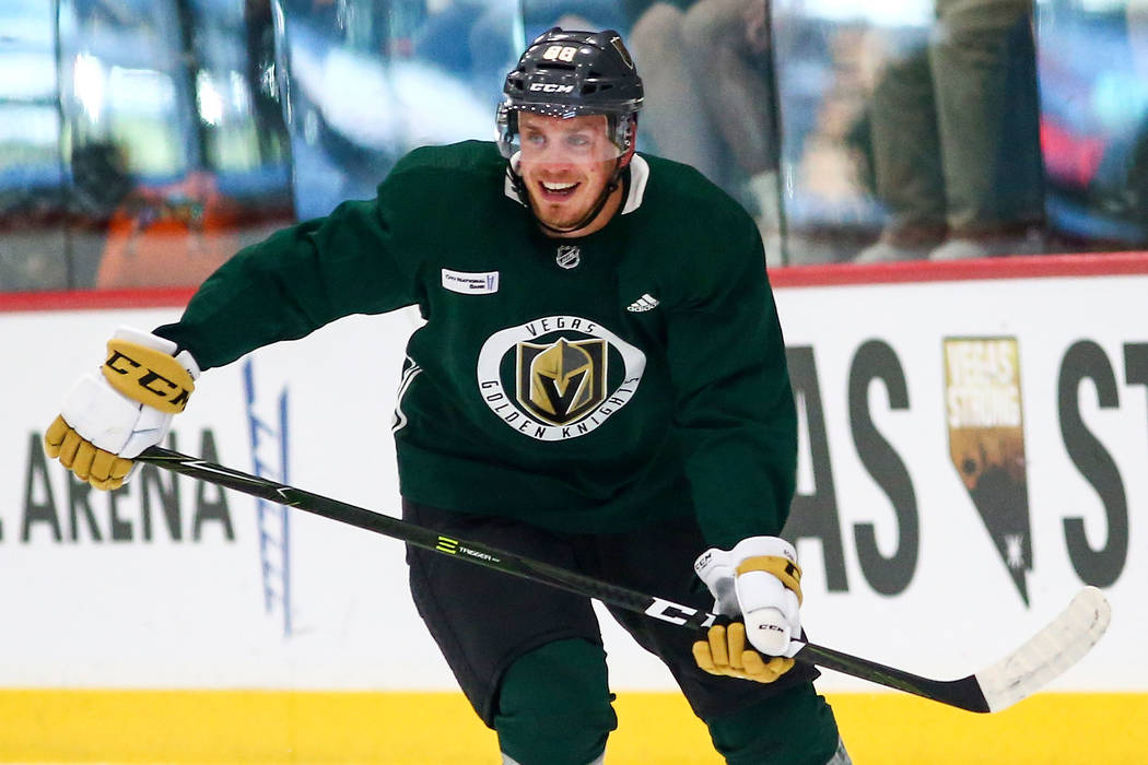 Golden Knights defenseman Nate Schmidt (88) skates during practice at City National Arena in Las Vegas on Wednesday, Sept. 19, 2018. Chase Stevens Las Vegas Review-Journal @csstevensphoto