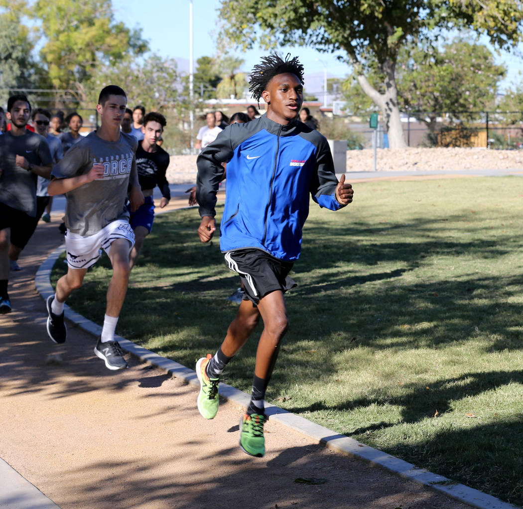 Valley High School cross country runner Christian Franklin, right, practices with his teammates at Justice Myron E. Leavitt Family Park in Las Vegas Wednesday, Oct. 24, 2018. K.M. Cannon Las Vegas ...