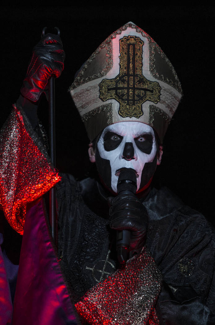 ADDS BAND NAME - Papa Emeritus of the Swedish heavy metal band Ghost performs during the Hell and Heaven 2016 metal music festival in Mexico City, Saturday, July 23, 2016. The one-day festival fe ...